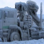 truck cought in ice